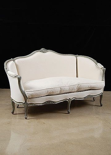 french antique Louis XV style painted settee french antique