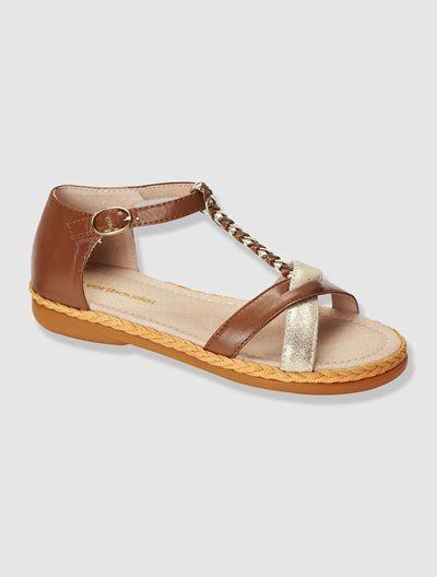 Sandales cuir  fille Beige+VIOLET - vertbaudet enfant