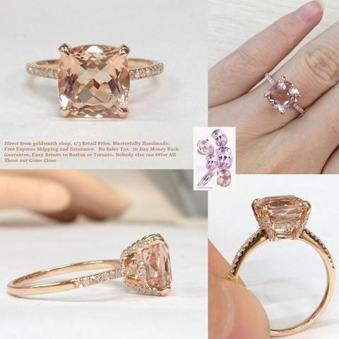 Reserved for Tim,  Diamond Matching Wedding band for  Cushion Morganite Ring 14K Rose Gold
