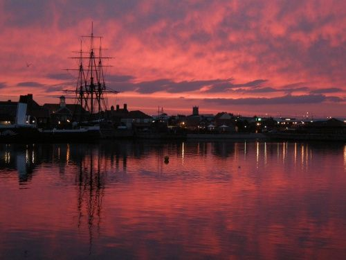 Red sky at Hartlepool Marina (England)