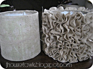 Ruffle Burlap Lampshades Tutorial  before and after