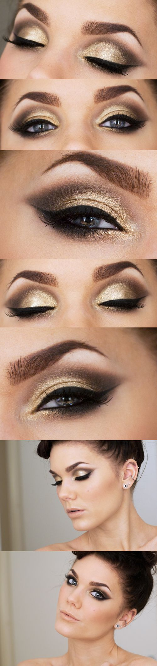 Neste look, Linda Hallberg apostou em um olhar brilhante dourado e fechou a make com lábios nude em efeito matte (fosco). Ficou lindo e super sofisticado!