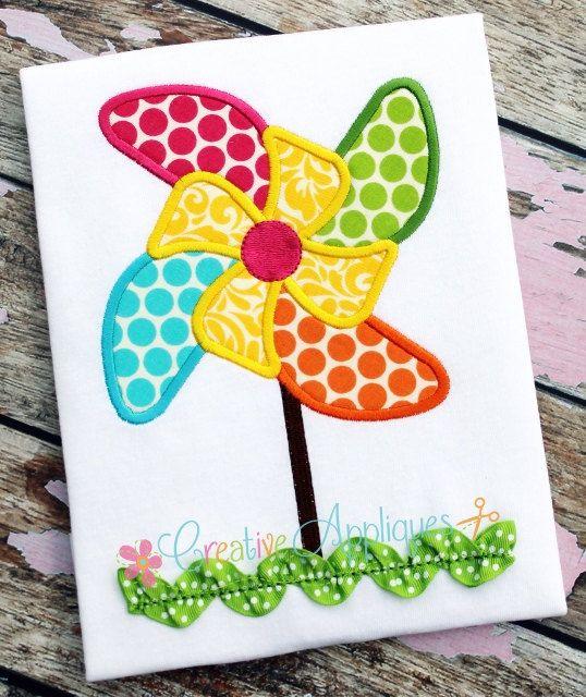Pinwheel Machine Embroidery Applique Design 4 by Creativeapplique, $3.99