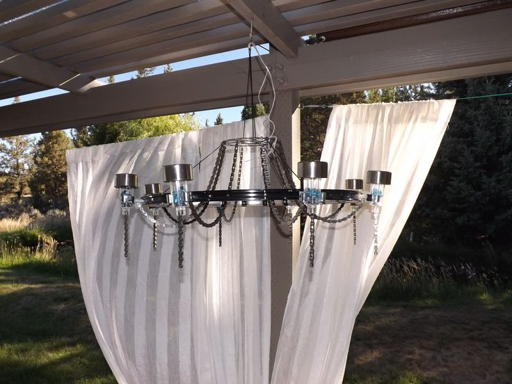 182 best pool area images on pinterest outdoor decor decks and outdoor bicycle chain chandelier with solar lights mozeypictures Choice Image