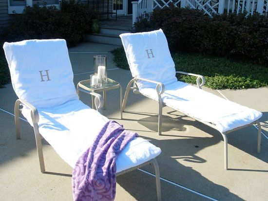 Make your own lounge chair covers out of towels. Cheap, easy to make, and super washable (what could be easier than tossing them in with a load of towels??) Awesome