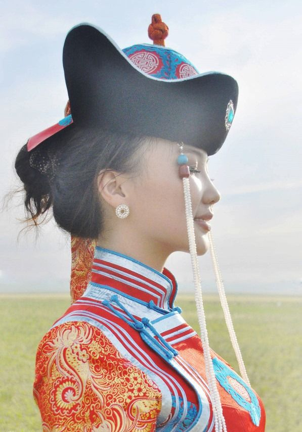 Beautiful Mongolian Woman in her Native Traditional Dress