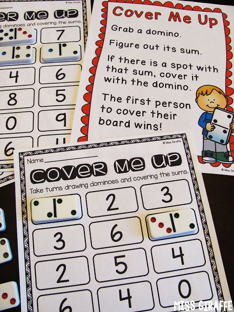 Fact Fluency in First Grade COVER ME UP Dominoes center where each kid gets a game board and covers the sum their domino makes... click for a ton of activity ideas!