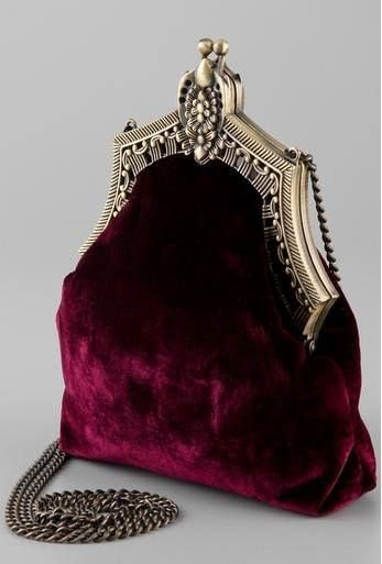 Velvet purse with silver clasp/purse frame.