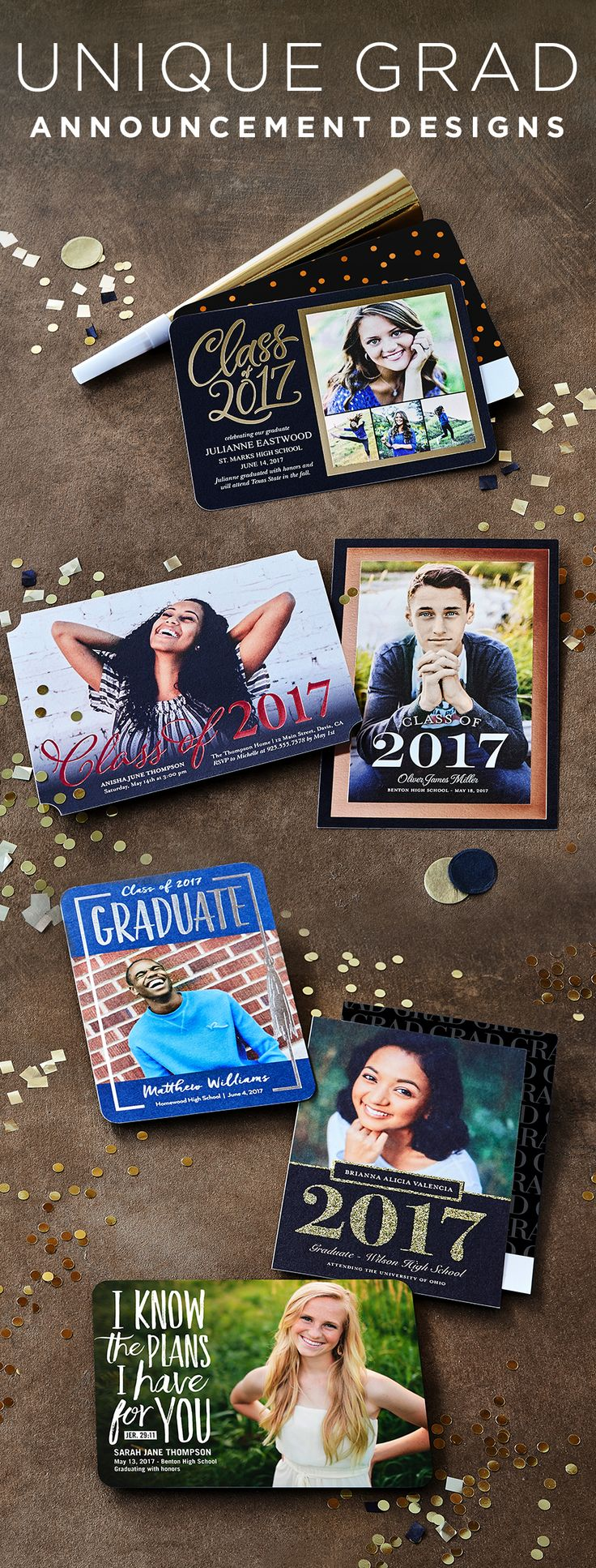Celebrate the class of 2017! Share your unique graduate's joy and success with lovde ones, friends, teachers, and neighbors with Shutterfly's custom graduation announcements. | Shutterfly