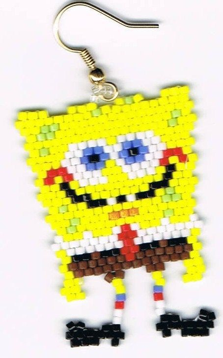 Beautiful+Hand+Beaded+Sponge+Bob+Square+Pants.+by+beadfairy1,+$12.95