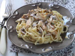 Паста с грибами и курицей, пошаговый рецепт с фото