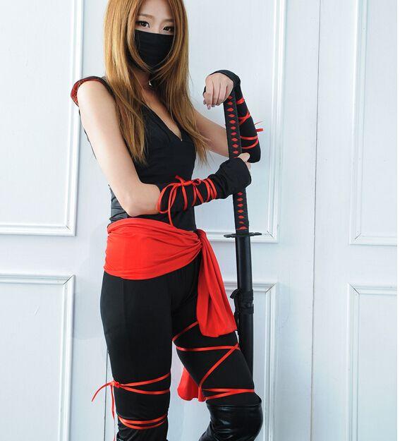 Halloween New Sexy Woman Ladies Female Ninja Costume Cosplay Lingerie Women Top +Capris + belt +riband +Mask
