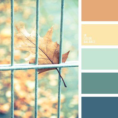 amarillo y marrón, azul oscuro verdoso, color aguamarina, color hoja otoñal, colores de otoño, elección del color, Korolévishna, marrón, marrón apagado, paleta de colores pastel, selección de colores, tonos cálidos de colores fríos, verde azulado.