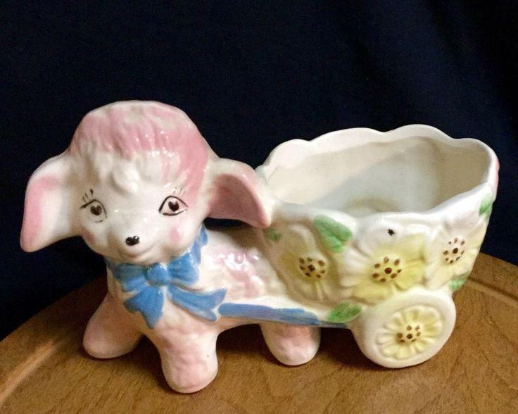 Vintage Ceramic Baby Nursery LAMB w CART-Spring Planter/Vase-Cute Heart Eyes