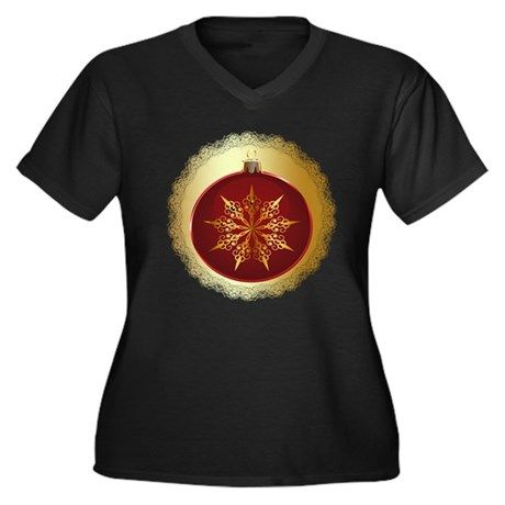 Red Christmas Bauble Plus Size T-Shirt