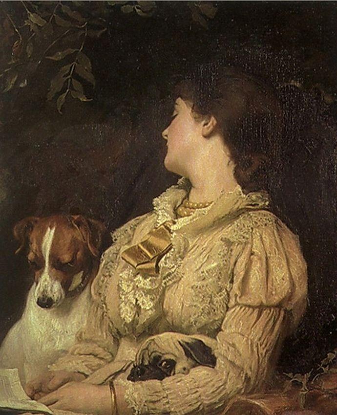 VÁCLAV BROŽÍK (1851 - 1901) Reader and dogs - pug and terrier before 1890; mops a terieér, před 1890, GMU Hradec Králové
