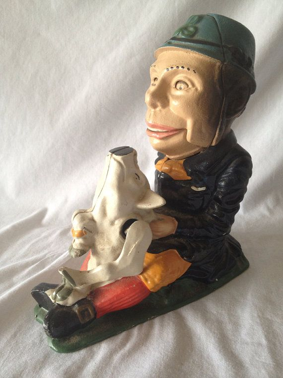 Vintage Reproduction Cast Iron Leprechaun & Pig by FloridaFinders, $15.00
