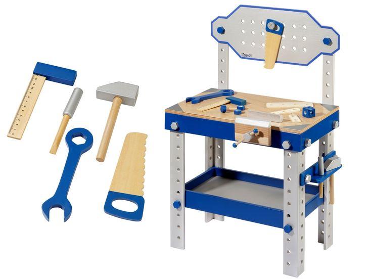 Dřevěné dílny a nářadí | Dřevěný pracovní ponk s nářadím a příslušenstvím | Dřevěné domečky pro panenky, dřevěné hračky, dětské dřevěné kuchyňky, dřevěné vláčkodráhy, dřevěné dětské nářadí a vše, co ke hraní patří