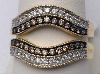 10k Yellow Gold Solitaire Enhancer Champagne White Diamonds Ring Guard Wrap... #14kt #gold #diamond #bridal #engagement #wedding #ring #fashion #jewelry #jewelryring #diamondring #engagementring #fashionring #lovely #Ringguard #Warp #Enhancer #Ringjacket