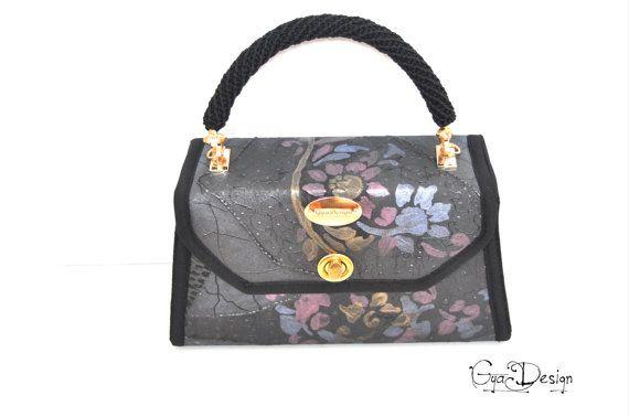 Black handbag purse with flowers hand painted  black purse
