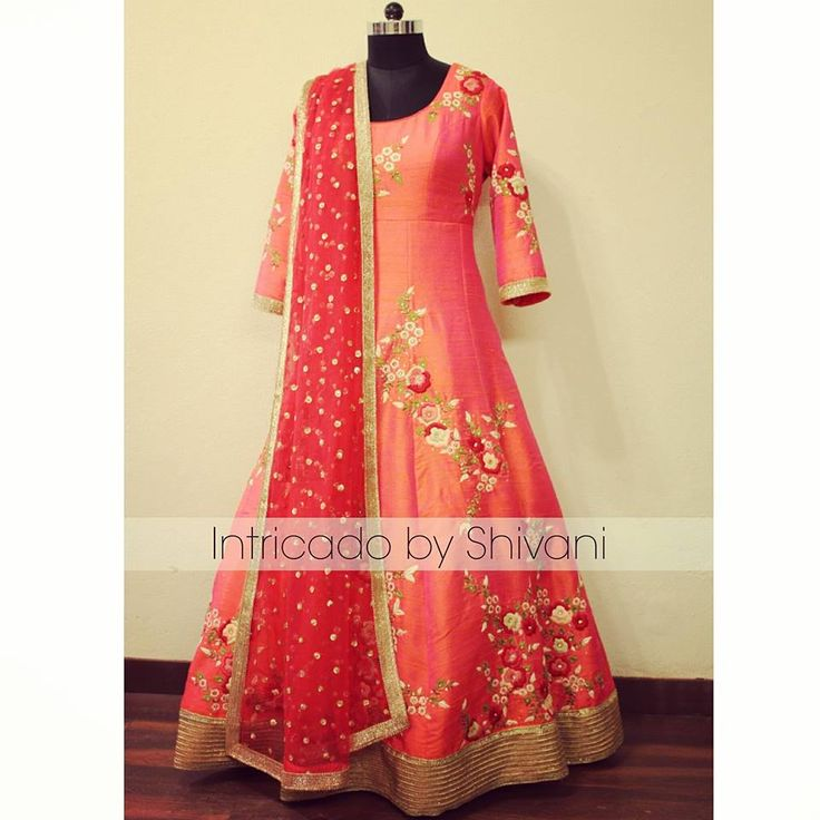 Hand emboidered floorlength anarkali in pure raw silk. Can be customized in any color. To order/enquiry, email at shivani@intricado.com or Inbox on Facebook page www.facebook.com/intricado or Whatsapp at +918527463626 #reshamwork #wedmegood #silkthreadwork #embroidery #floralwork #floralembroidery #florallehenga #indianembroidery #indianethnic #indianbridal #indiancouture #indianwedding #sangeetoutfit #sangeetnight #indianfashion #intricadobyshivani #floralanarkali #indianbride…