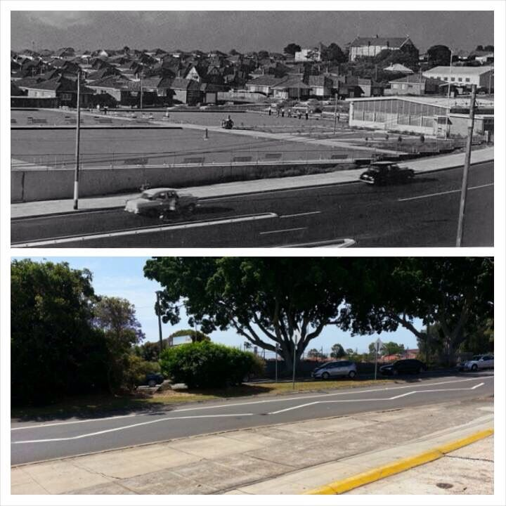 The Five Dock R.S.L Bowling Club on Great North Road and Lyons Road Five Dock, cicra 1971 and the abandoned site in 2014. [1971 photo from Drummoyne, a history Eric Russell and 2014 Allan Hawley. By Allan Hawley]