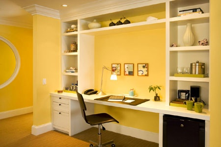 Desk with side shelves. I like how it goes to ceiling.