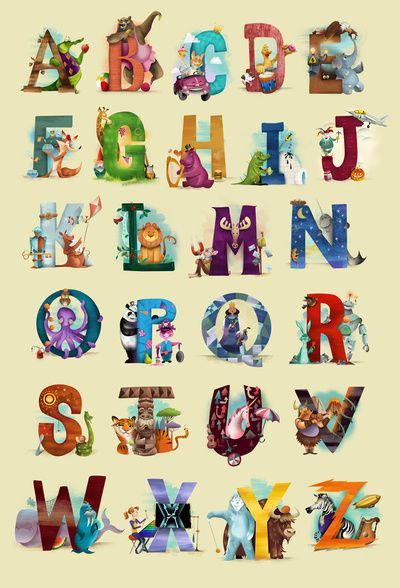 Love that this has several images that start with the letter, all in cute illustrations. Worth the investment. The Animals' Alphabet Art Print