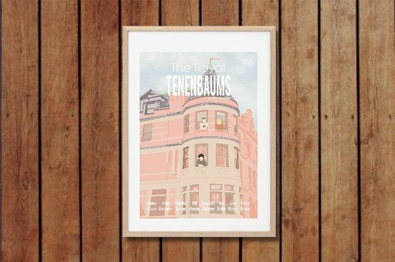 This is a The Royal Tenenbaums movie inspired print.    A3 size is 29.7x42cm or 11.69x16.53 inches.  A2 size is 42x59.4cm or 16.54x23.39 inches.
