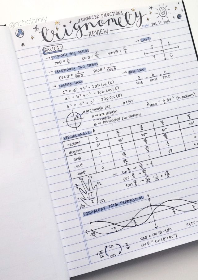 "focusign: ""07/01/16 [3:23PM] → ig: @focusign I posted a cropped verson of this already, but I thought I'd post a full version! I just noticed that I spelt Trigonometry wrong haha. Trigonometry was such a struggle when I first learnt it, but after a..."