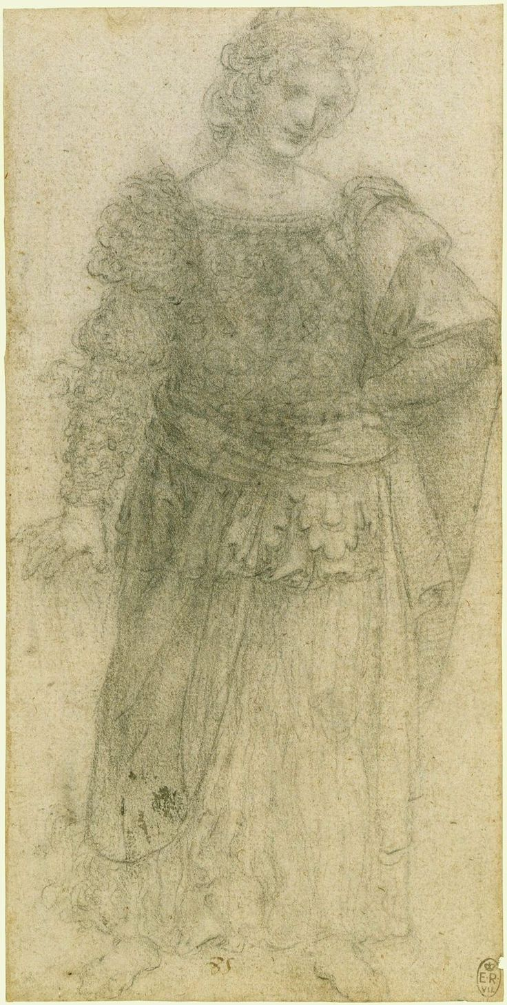 Leonardo da Vinci, 1452-1519, Italian, A standing masquerader, c.1517-18.  Black chalk on paper.  Royal Collection Trust, Windsor.  High Renaissance.