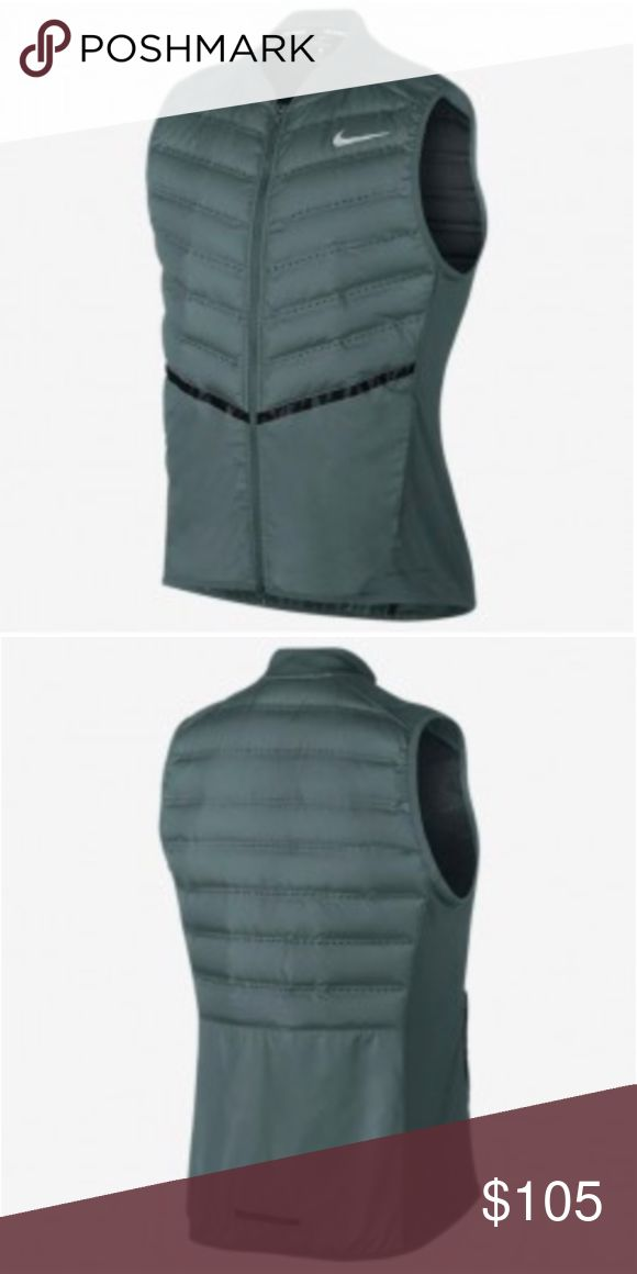 "Nike Aeroloft Running Vest in Hasta Seaweed, New! Packable Nike AeroLoft Men's Running Vest, NWOT. Panels in front and back offer lightweight warmth, laser-cut perforations provide breathability, large, stretchy side panels allow natural range of motion. Reflective features stand out in low light, element-resistant finish helps keep out wind and rain. Side zip pockets, and packable design with hand strap for easy carrying. Gorgeous vest! Size large; 22"" width, 26.5"" length (several inches…"