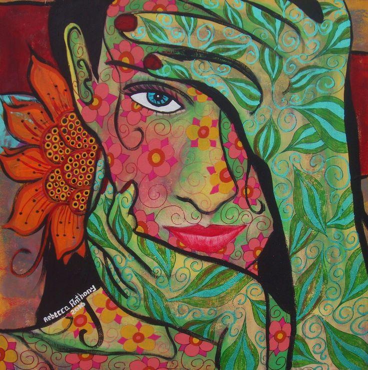 "Rebecca Anthony Penny Lane Ink..""Tropical Daisy Goddess"" 2010... (JPEG Image, 1589×1600 pixels) http://penandinkbyrebeccaanthony.blogspot.com/2010_10_01_archive.html"
