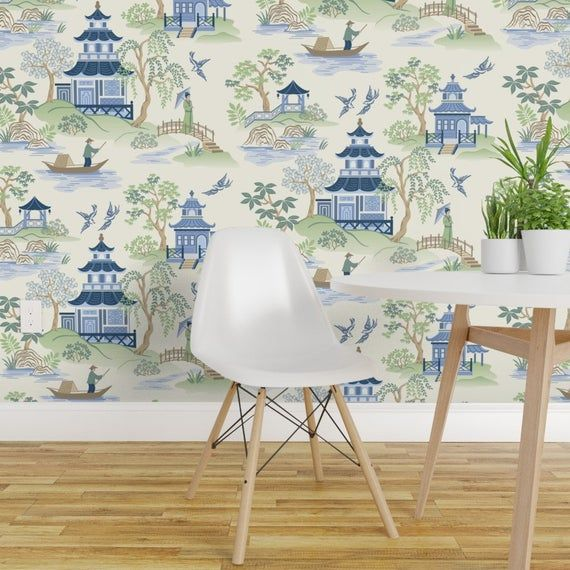 Chinoiserie Wallpaper Chinoiserie By Barbarapixton Etsy Chinoiserie Wallpaper Chinoiserie Removable Wallpaper