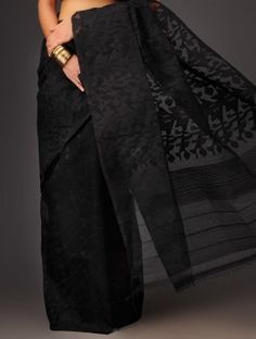 Black Cotton Jamdani Saree