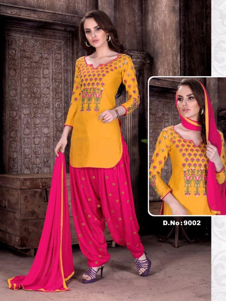 Click On Bazaar Yellow and Pink Color Cambric Cotton Patiala Salwar Suit - ClickOnBazar  #onlinepatiala #designerpatialasalwar #patialasalwarsuits #designerpatialasalwar #clickonbazaarpatialasuits