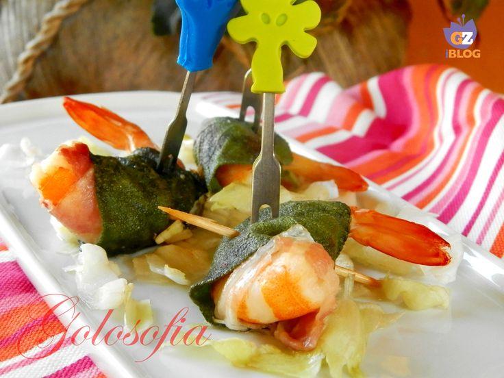 Gamberi con pancetta e salvia, antipasto di pesce buonissimo