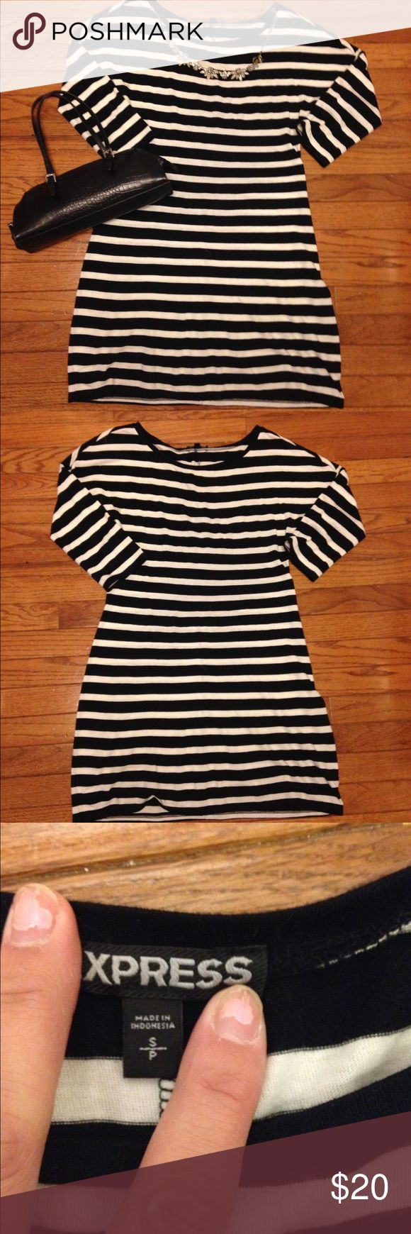 Express striped mini dress sz S Up for sale is a super cute striped mini dress from Express!! This dress has been tried on a few times but has never been worn out or washed. It is in new condition! Would look great with a jean jacket & ankle boots! Thanks for looking!! Express Dresses Mini