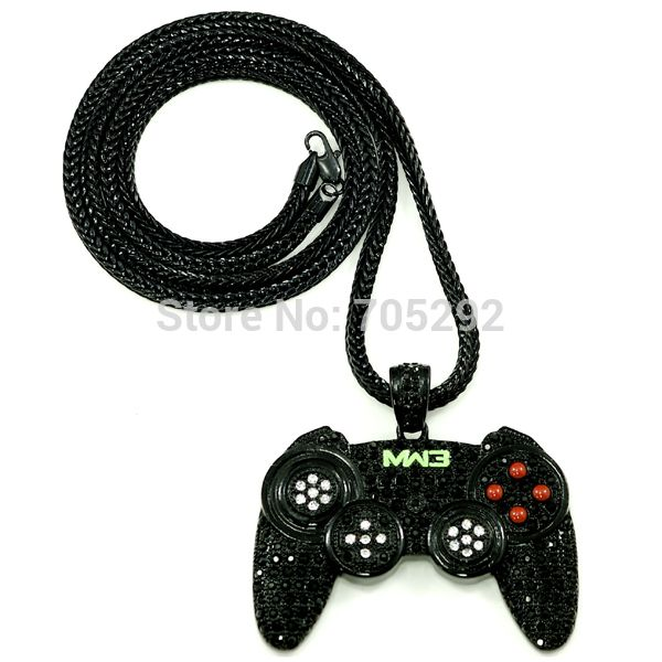 "New Arrival Iced Out New Game Controller Pendants Necklace with 36"" Franco Style Chain Necklace"
