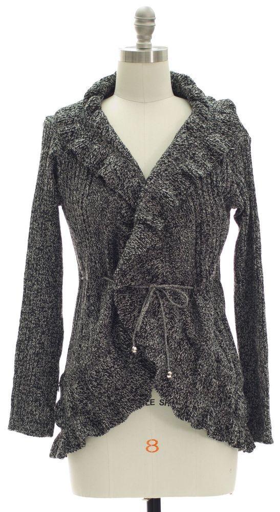Ruffle Black Marled Cardigan Open Front Tie Womens  | eBay