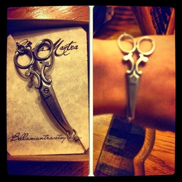 Great Gift Ideas for hair stylist. scissor necklace. scissor bracelet. link to shop.