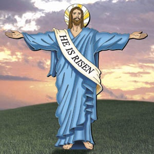 His welcoming arms celebrate the resurrection with this for Wood lawn ornament patterns