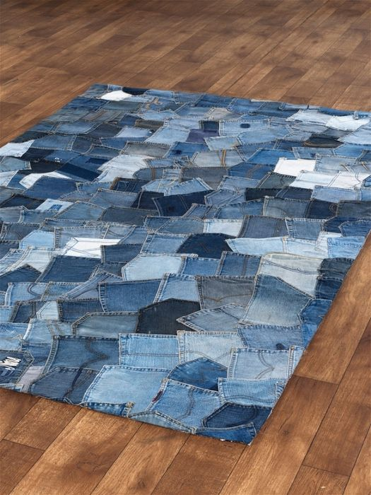 Jean pocket rug by apexcarpets.this certainly solves the question of what  to do with the leftover pockets. Need to show our daughter, it would match  her ... - Best 25+ Denim Rug Ideas On Pinterest Denim Crafts, Recycled