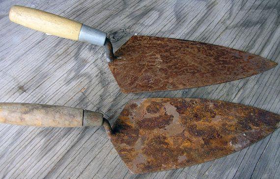 Rusty Cement Tools Industrial Metal Art Supplies by HighDesertRust