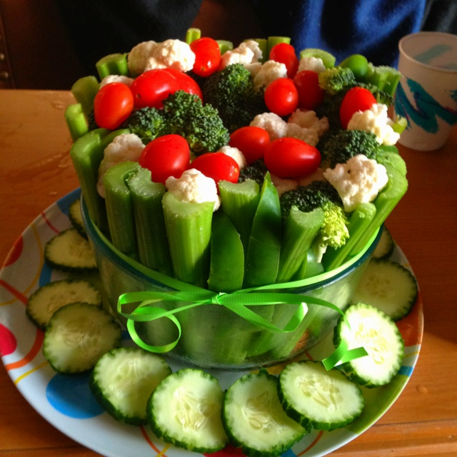 Vegetable Birthday Cake ! Celery, Green Pepper, Broccoli