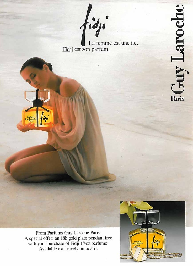 Fidji perfume by Guy Laroche.  It *has* to be the perfume/eau de parfum however as the eau de toilette/EDT, which is widely available, is a poor reflection (it smells very like Nina Ricci's l'Air du Temps - so nice, but only nice).  Possibly my favourite perfume of all but is so hard to get in the perfume version that I've kept part of a bottle dating back to 1976, used only very, *very* occasionally.  Sad but true.  Includes: galbanum, iris, rose, ylang ylang, sandalwood and patchouli…
