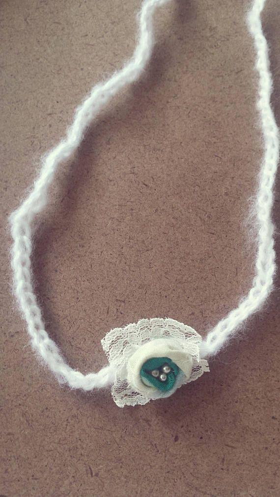 Flower Headband. Fabric flower and lace.  Tie Back Headband Photography Prop. Handmade babies headband.