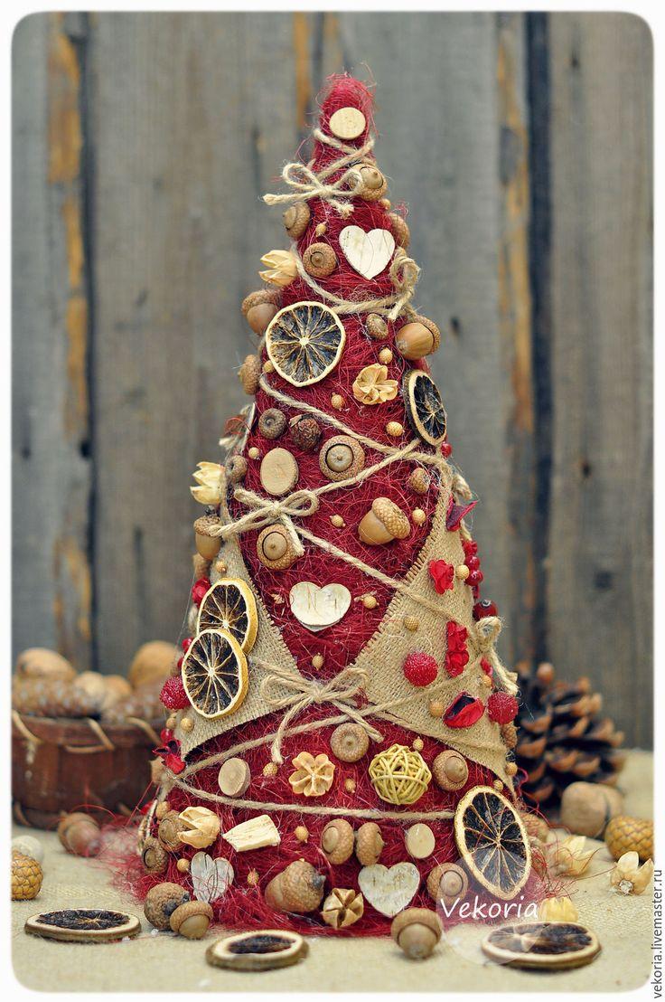 """Купить Елочка """"Бордо"""" - бордовый, телесный, натуральный, мешковина, елочка, елка, елка новогодняя"""