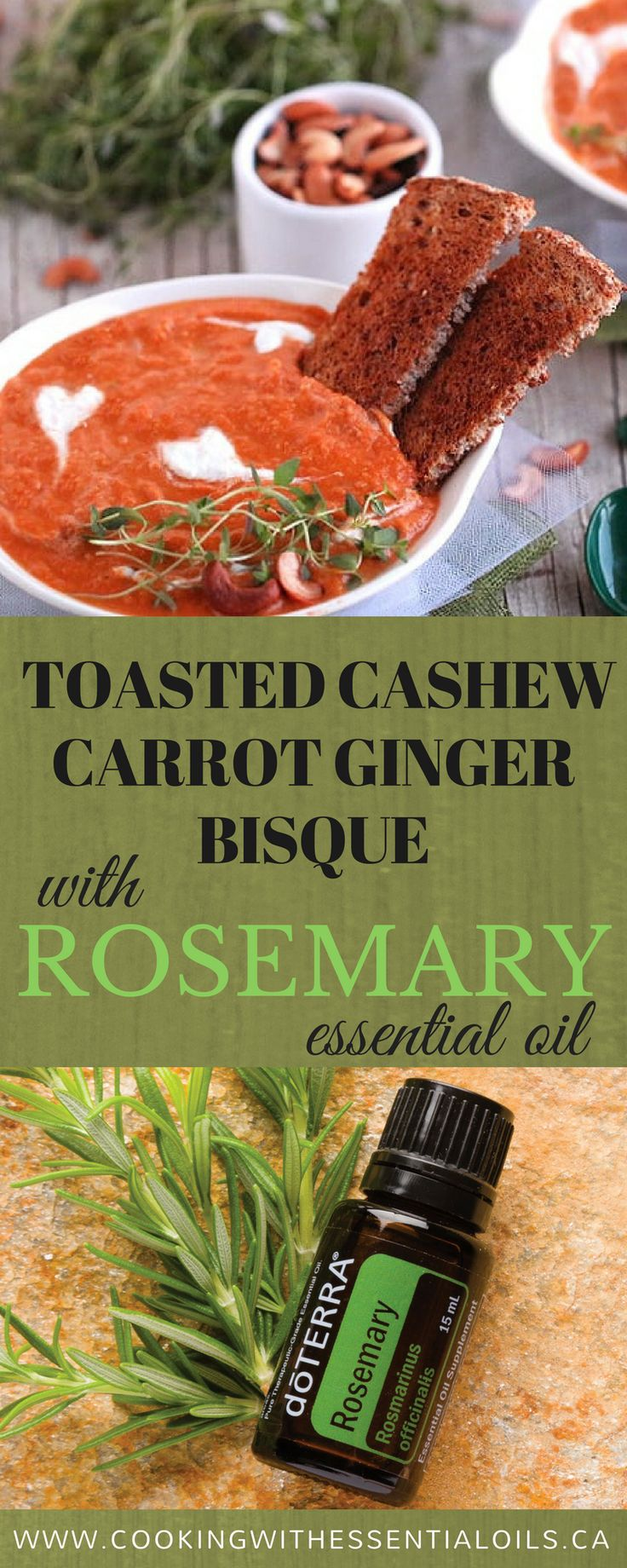 This article will feature a fellow food blogger who created a recipe using Rosemary Essential Oil. Deborah from Vegan Vigilante will share about her experience using essential oils in a recipe and also share the link to her post. #cookingwithessentialoils #rosemary #bisque