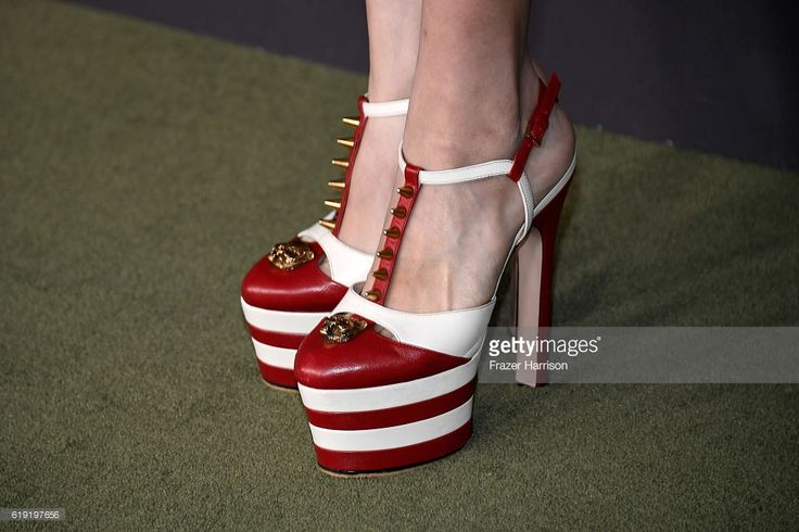 Actress Hyo Joo Han, shoe detail, attends the 2016 LACMA Art + Film Gala honoring Robert Irwin and Kathryn Bigelow presented by Gucci at LACMA on October 29, 2016 in Los Angeles, California.